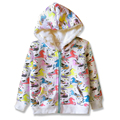 Winter Sweatshirts For Girls Fall Hooded Coat For Girl Autumn Zipped Hoodies Printed Cute Horses Jacket Kids Outerwears 2-7 Yrs