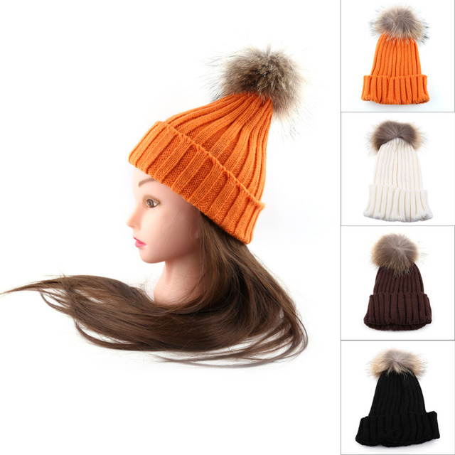 Women Warm Knitted Cap Beanie Crochet Raccoon Fur Pompom Ear Protect Casual Winter Warm Hat Hot 4Colors