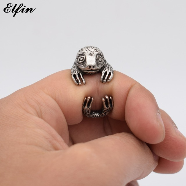 Elfin 2017 Vintage Adjustable Sloth Ring Men Fashionable Cute Jewellery Bradypus