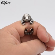 Elfin 2017 Vintage Adjustable Sloth Ring Men Fashionable Cute Jewellery Bradypus Rings For Women Anillos Mujer Warcraft