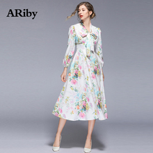 Dress Women Maxi Long White Dress 2019 Spring Summer New Lady Beach Style V Collar Empire A-Line Printed Thin Bow Mid-Calf Dress цена и фото