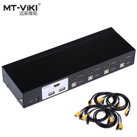Mt Vik 4 Port Auto HDMI Switch KVM Switch USB Hothey Console 1080P Video Switcher for 4 PC 1 Monitor Original Cable 2104HL