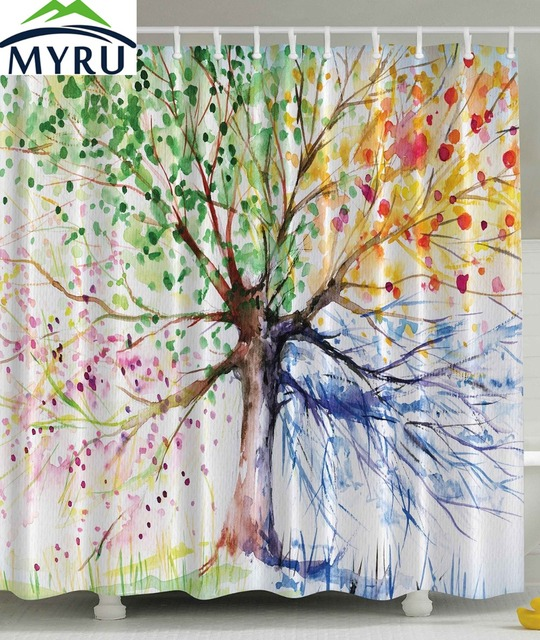 MYRU Four Seasons Tree Shower Curtain Colorful Trees Best Decor For Bathroom 180x180cm