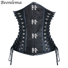 284ec0b09dd BEONLEMA Black Leather Corset Emboidery Bustier Underbust Silver Buckle  Tight Lace Up Gotico Woman Clothing Sexy