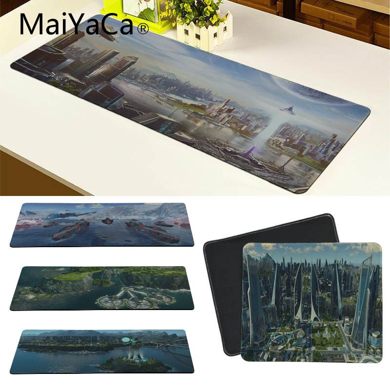 MaiYaCa Hot Sales Anno 2205 Keyboards Mat Rubber Gaming mousepad Desk Mat Good quality Locking Edge large Game Mouse Pad image