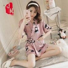 Silk Sleepwear Suit Summer Pajama Set Pijamas Short Sleeves Print Women Satin Pyjamas Homewear Sleep M L XL XXL