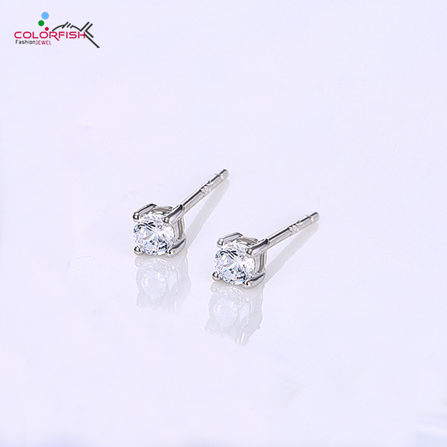 b72119693 COLORFISH Small Cute 3mm Women's Stud Earrings Original Authentic 925  Sterling Silver Round Brilliant Solitaire Earring Fashion