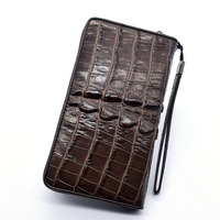 2018 Wallet men zipper multi card slots Purses item Organizer Genuine Leather Cuzdan Pocket Vallet For Man Wristlet bag Aligator