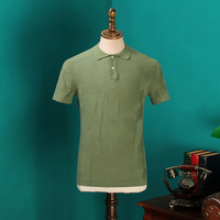 2017 New Summer Black Men Korean Type Unique Knitting Paul Shirt Leisure Short Sleeve Shirts Army Green blusas