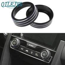 QILEJVS 2x Aluminum Ring Knob Trim Cover For 2016-2018 Honda Civic Sedan Coupe Hatchback цена