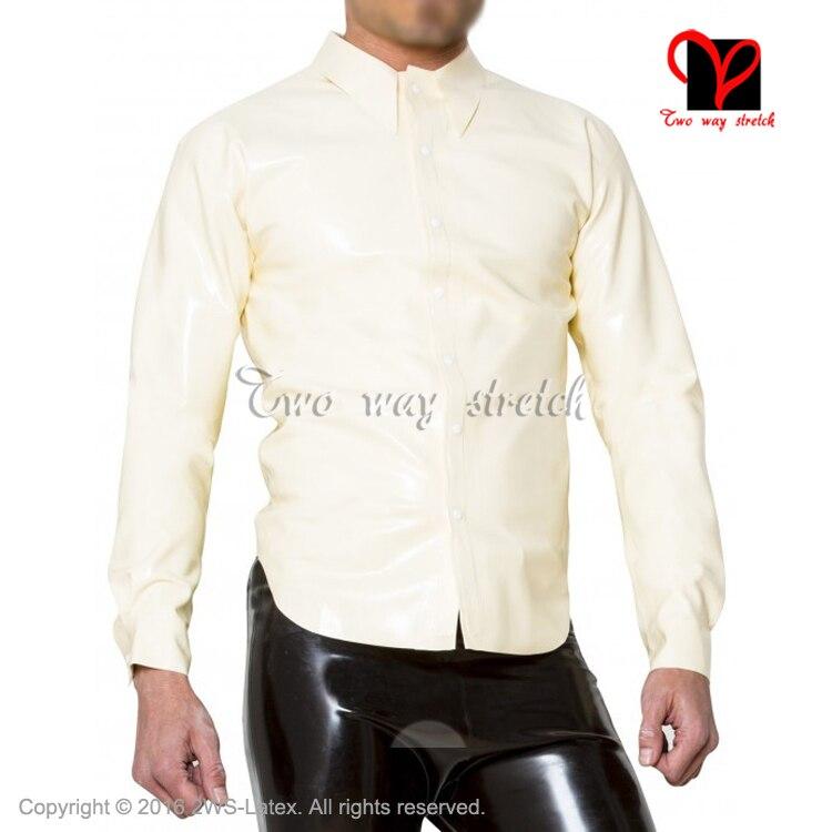 Blouse Sexy en Latex blanc blouse en caoutchouc avec bouton haut à manches longues devant grande taille XXL SY-073