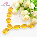 Excellent Europe Popular Oval Bright Royal Citrine Gems Crystal Chain necklaces for women wedding jewelry necklace N0616