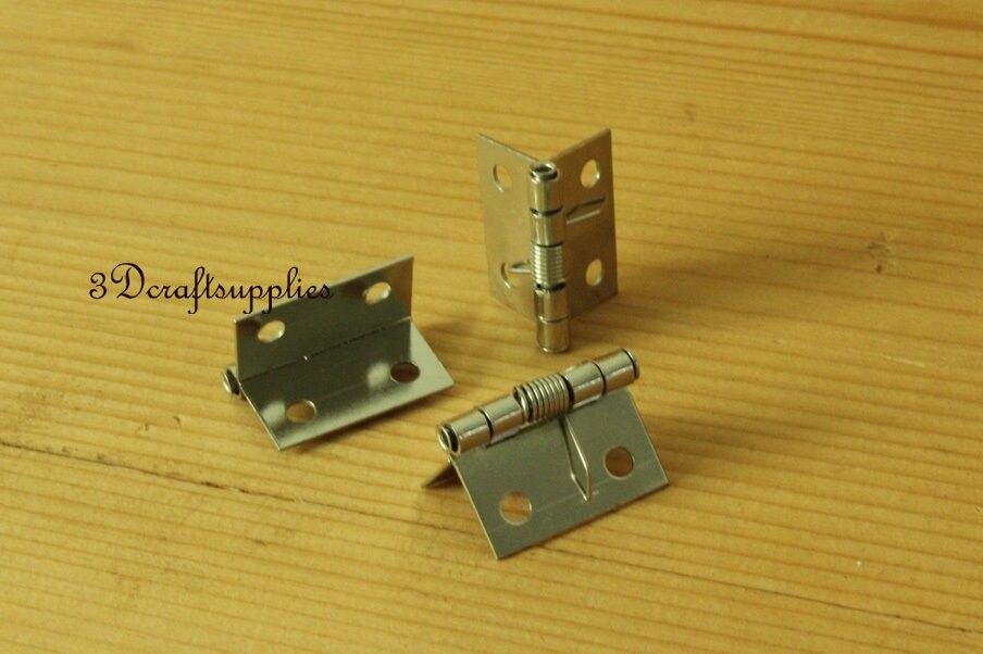 Металлические петли деревянная коробка сигар ювелирных изделий Серебряный 24 мм x 32 мм 12 шт. P19