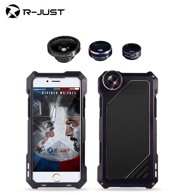 imágenes para Para iphone 6s plus case con película de vidrio de gran angular ojo de pez macro lente a prueba de choques de aluminio del metal cubierta armor case para iphone 6s 6