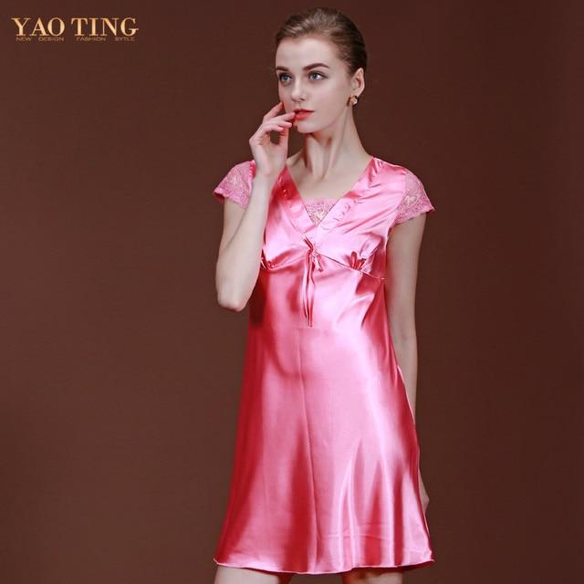 a80f2784e6 New Brand Women Night Dress Silk Satin Nightgown Silk Robe Sexy Bathrobe  For Women Short Sleeve