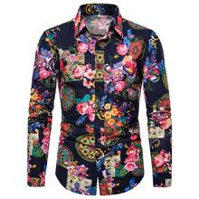 Floral Cotton Linen Shirts Men Long-sleeved Mens dress Turn-down collar Social Blouse Plus size