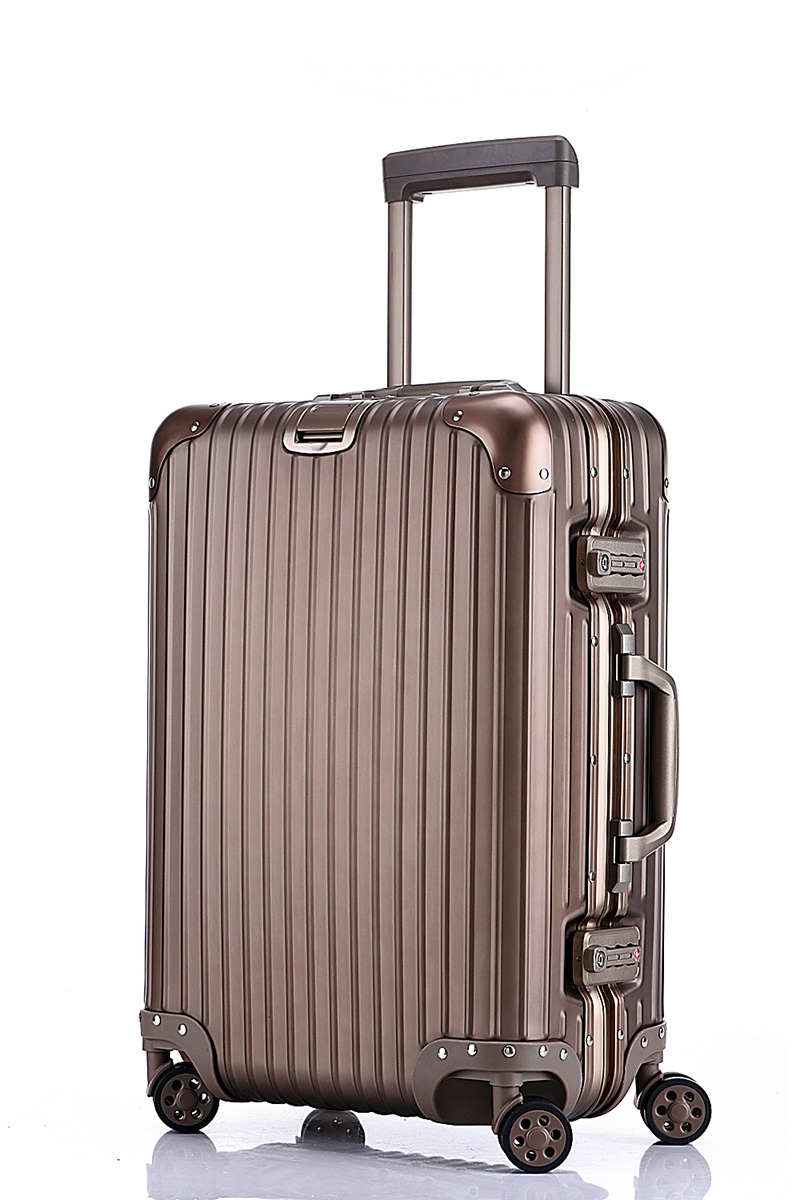 Free shipping 100% aluminium magnesium alloy luggage Universal wheel lockbox metal box Men and women on board boxes gold