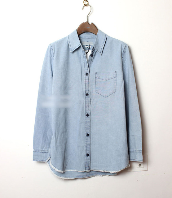 acb166ed951a Woman NEW IM Denim Shirt Button up Long Sleeves Frayed Hem Chest Pocket