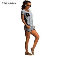Tofashion 2016 Summer Style Women Fashion Short Sleeve O Neck Backless Bandage T Shirt Tops Shorts