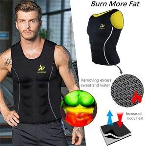 Image 4 - NINGMI erkek zayıflama yelek sıcak gömlek spor kilo kaybı ter Sauna takım elbise bel eğitmen vücut şekillendirici neopren Tank Top ile fermuar