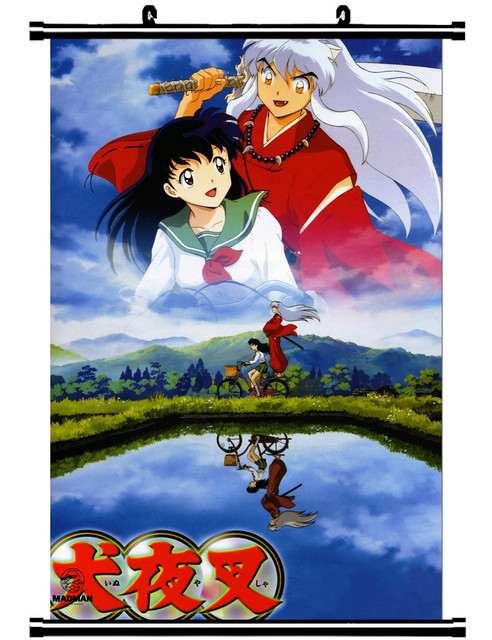 Us 13 25 15 Off Japanese Decorative Pictures Anime Inuyasha Higurashi Kagome Kagura Bankotsu Suikotsu Home Decor Wall Scroll Poster In