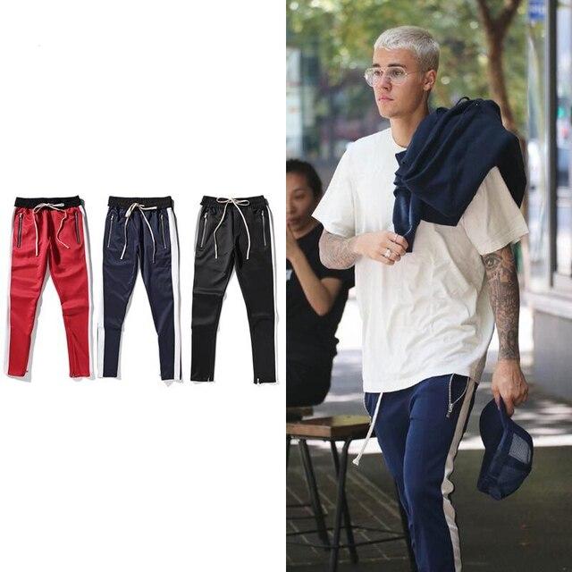 db93d0fc60dc JUSTIN Bieber Fog Men Brand Sweatpants Brand Hip Hop Zipper Patchwork  Drawstring Jogger Pants Men Kanye West Joggers QP0005-5