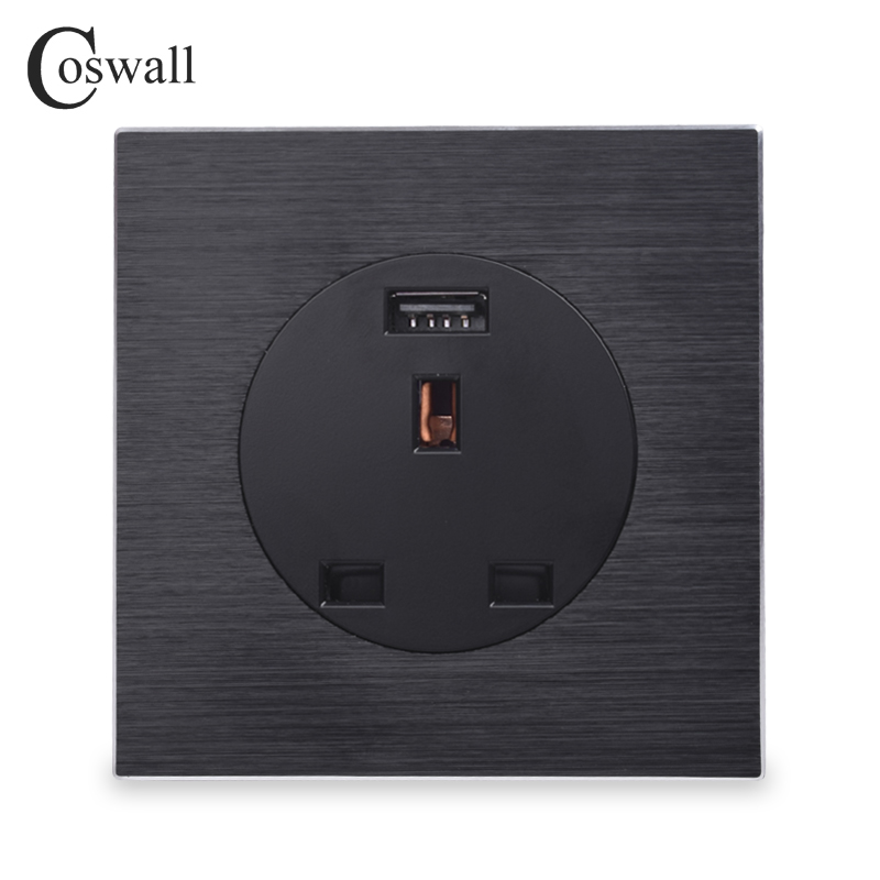Coswall Aluminum Metal Panel 13A Wall Outlet UK British Standard Power Socket With USB Fast Charging Port DC 5V 2A R12 Series british mk british unit power supply socket metal 13a power outlet british standard unit socket