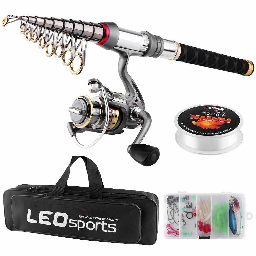 Spinning Fishing Rod Combo FULL KIT Telescopic Fishing Pole Set with Spinning Reel Line Lures Hooks