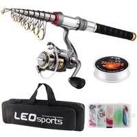 Spinning Fishing Rod Combo FULL KIT Telescopic Fishing Pole Set with Spinning Reel Line Lures Hooks with Travel Fishing Bag