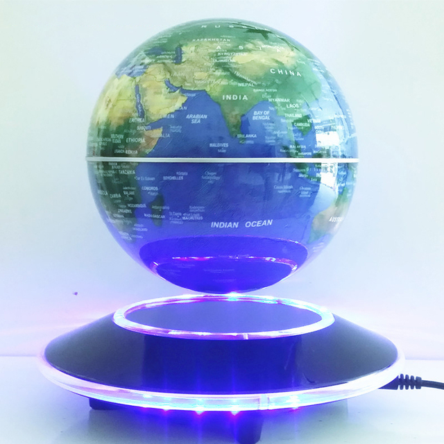 6 inch electronic magnetic levitation floating globe world map with led lights home office decoration business