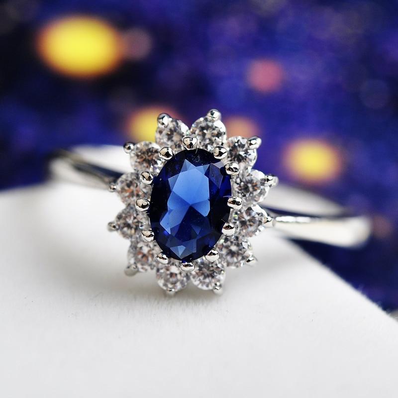USTAR Princesa Azul AAA Zircon Anéis de Casamento para as mulheres de cor Prata anel bijoux Áustria Cristais Anéis de humor feminino top quality