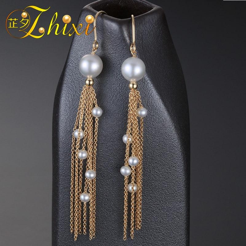 [ZHIXI] выбор шага 9 K желтого золота ювелирные изделия Длинные серьги с жемчугом для Для женщин пресноводный Серьги с жемчугом новые изысканные свадебные украшения подарок кисточка E316