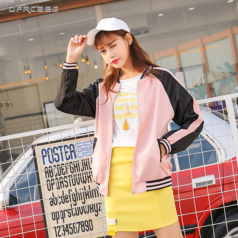 Pink Patchwork Female Bomber   Jackets   2019 Autumn Stain Women   Basic   Coats Casual Long Sleeve Stand Collar Zipper Outwear Clothes