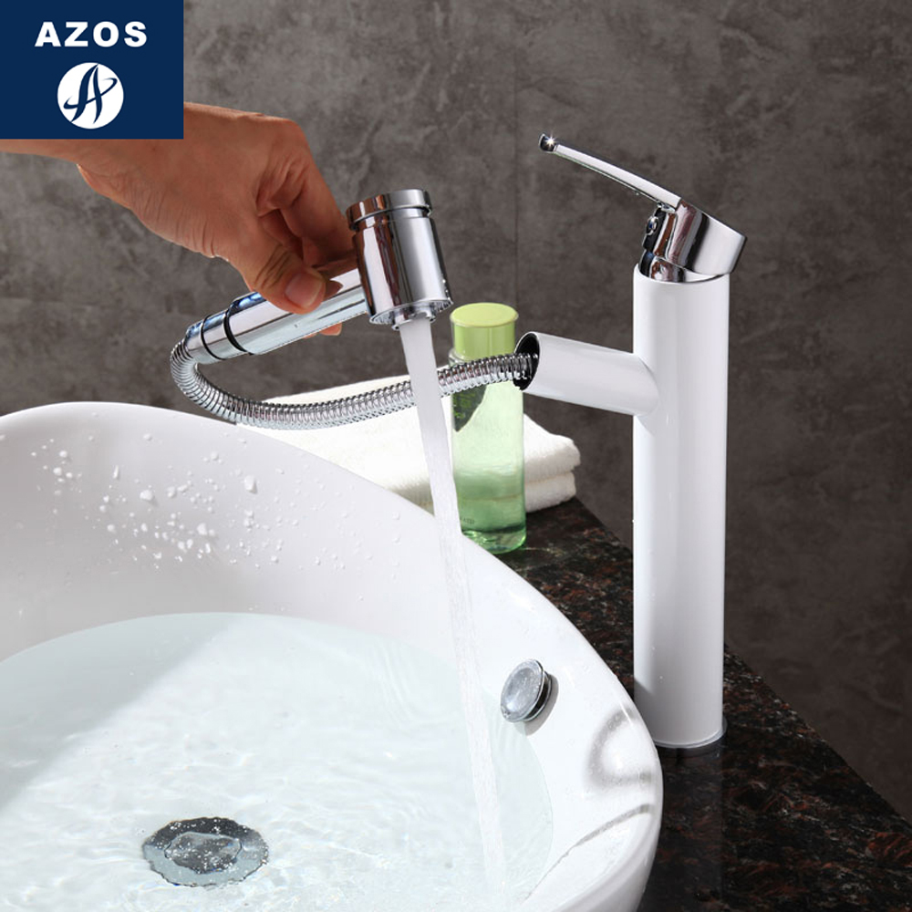 Bathroom Faucet Pull Out Single Handle Shower Swivel Spout Vessel Sink Mixer Tap Brushed Nickel Chrome Polish 2 Color CLMP023Z wanfan modern polished chrome brass kitchen sink faucet pull out single handle swivel spout vessel sink mixer tap lk 9906