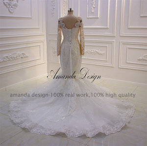 Image 4 - Amanda Design robe mariee O neck Long Sleeve Lace Appliqued Pearls Wedding Dress Customized