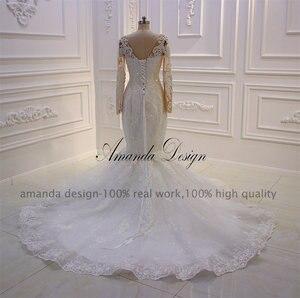 Image 4 - Amanda Disegno robe mariee O Collo A Maniche Lunghe In Pizzo Appliqued Perle Abito Da Sposa Su Misura