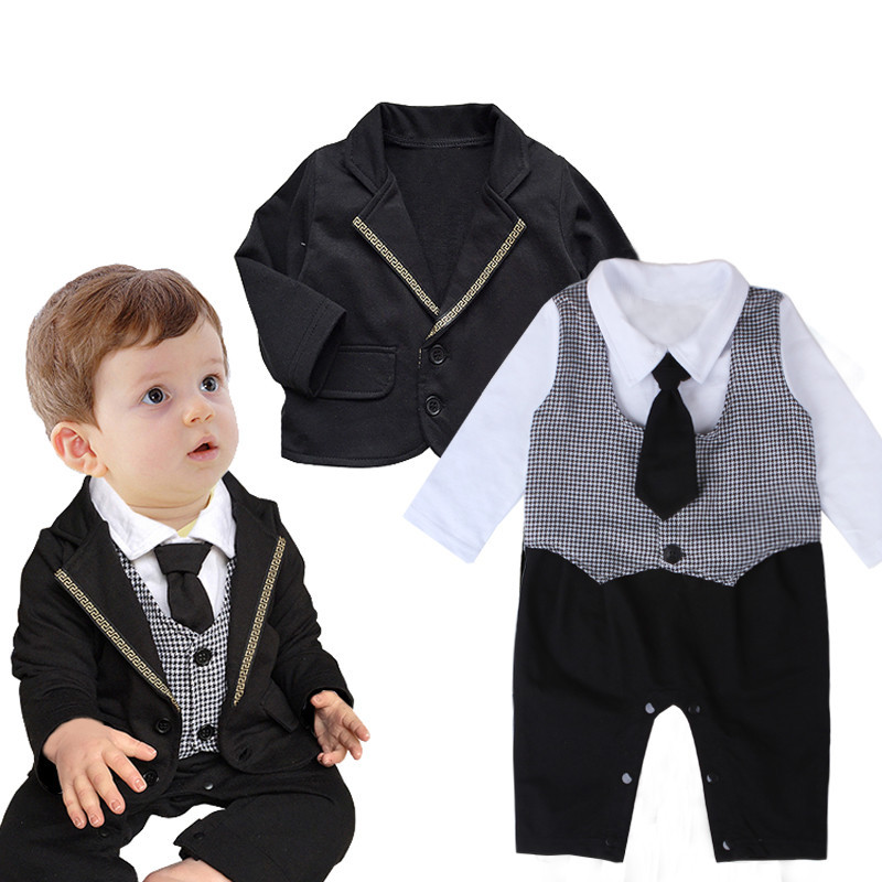 1316fc45f 2018 Gentleman Baby Clothing Boy Rompers+Coat 2Pcs Baby Boys Clothes ...