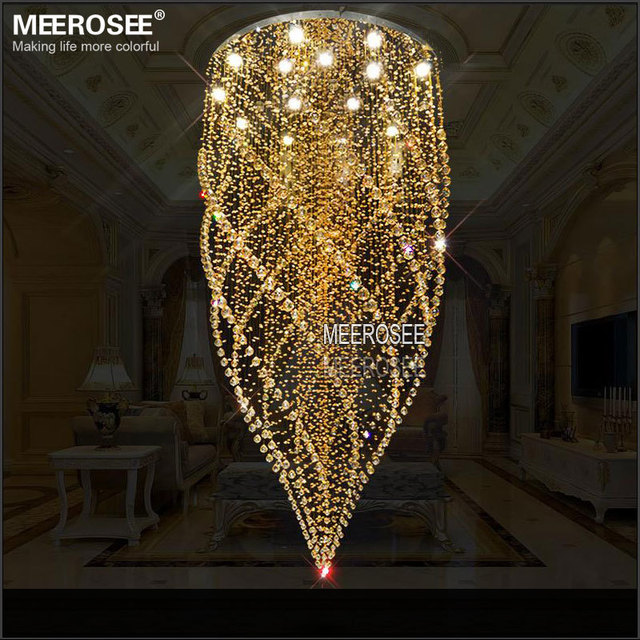 Round Crystal Chandelier Light Fixture Amber Lamp Re De Cristal With Gu10 Lights Stair Res