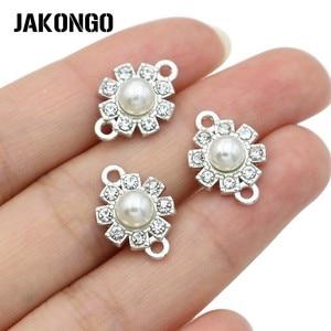 5 pces prata chapeado cristal claro branco pérola conectores para fazer jóias pulseira jóias descobertas acessórios artesanato 17x13mm