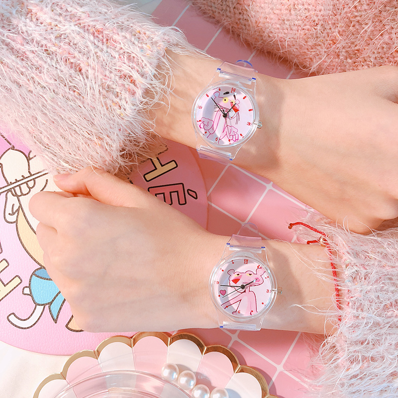 Transparent Watch Fashion Quartz Watch Pink Panther Boys Children Girl's Beautiful Students All-Match Women Watches Montre Femme