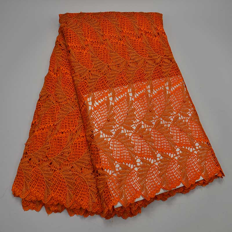 Orange Beaded Tulle Pine Tree Embroidery Cord Lace Material Knitted Embroidered Guipure Lace Fabrics With Beads Lace