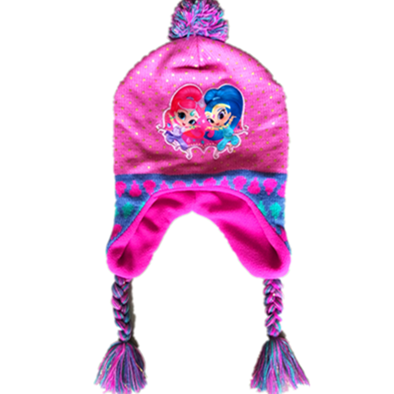 Shimmer And Shine Knitted Cute Hats Hoodies For Girls Long Braid With Earmuffs For Baby Girl Winter Spring Beanies Cap + gloves ...
