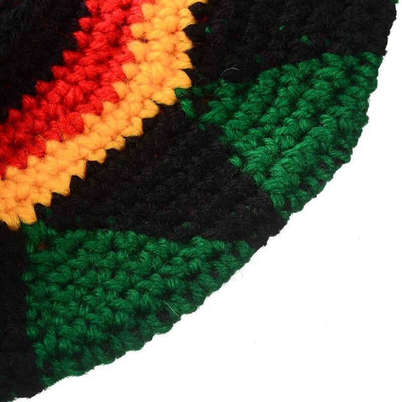 a81b66d963d Miya Mona 2017 Novelty Jamaican Rasta Knit Hat Casual Men Handmade Crochet  Reggae Cap Wig Braid Beanies Hair Accessories