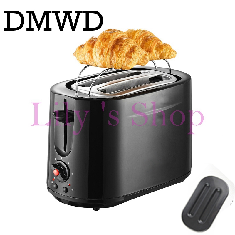 DMWD Household Stainless Steel 2 Slices Toaster Bread Toast baking Machine Electric Croissant Breakfast maker 2PCS EU US plug