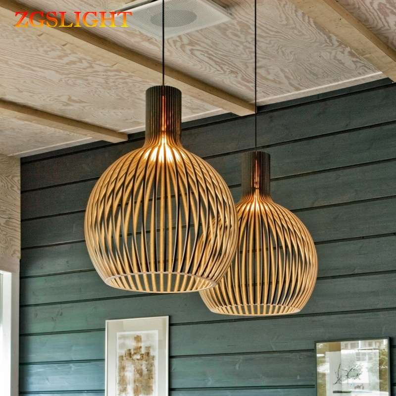 Lampe suspension en bois moderne, cage à oiseaux en bois à E27 ampoules, suspension à suspension en bois avec tissage de bambou
