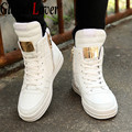 Global Lover 2017 Autumn Winter Comfort Mens Skater High Top Lace Up Breathable Flats Solid White Men Casual Shoe Big Size 39-45