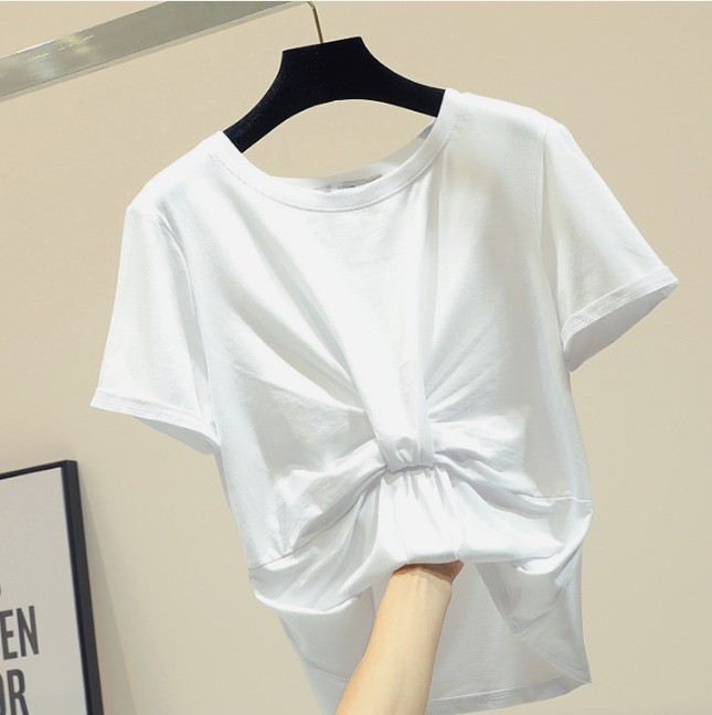 Korean Summer White T-shirt Women's Simple Round Collar Cotton Shirt Tees Students Casual Basic Tops