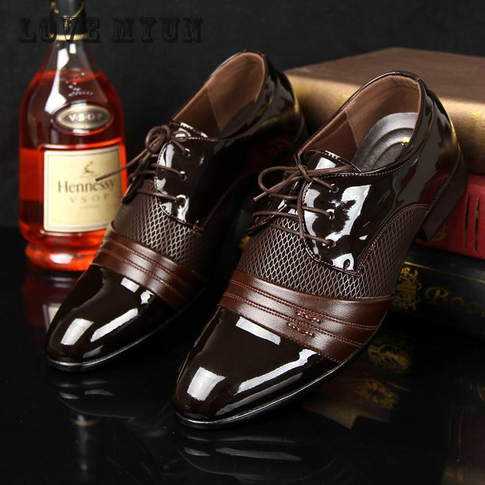 2016 Men Office Business Patent Dress Oxfords Shoes Luxury Brand Pointed Toe Leather Shoes For Male
