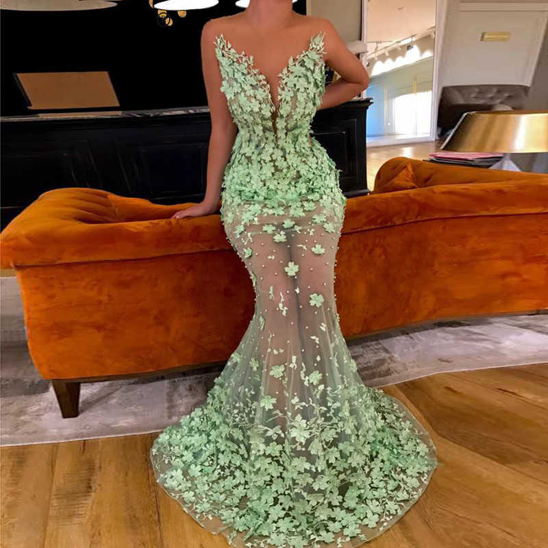 6ac39141bd33 ... Mint Green Muslim Evening Dresses 2018 Mermaid Tulle Flower Pearls See  Through Dubai Saudi Arabic Long