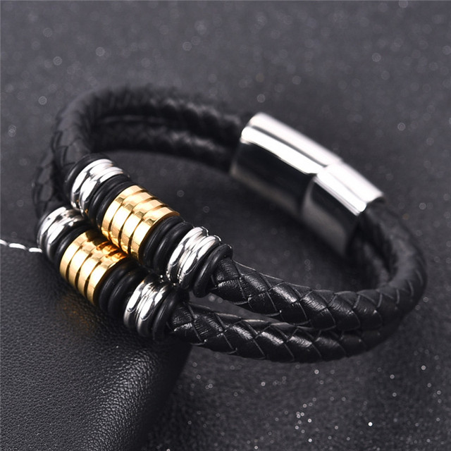 Jiayiqi Punk Men Double Braided Leather Bracelet Stainless Steel Magnetic Clasp Fashion Bangles 18 5 20